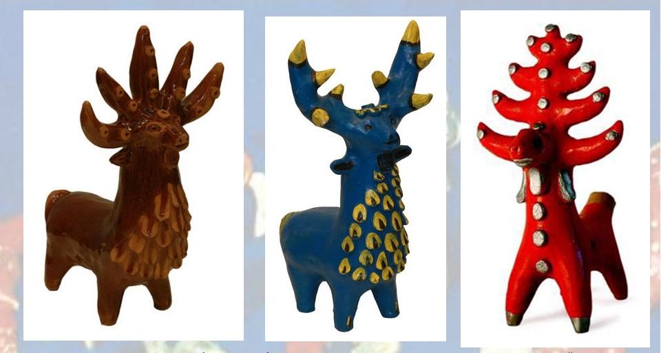 Традиционные виды оленей в абашевской игрушке